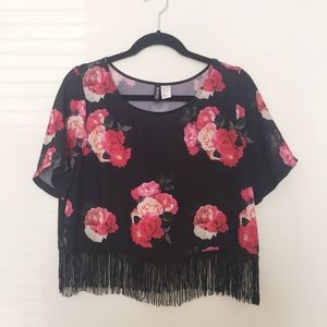 Black & Red Floral Fringe Crop Top